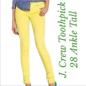 J. Crew Lemon Yellow Toothpick Ankle Jeans 28 Tall